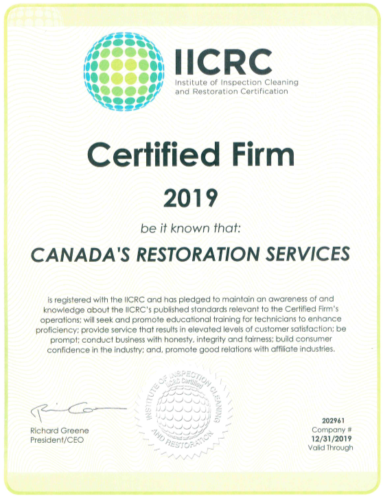 IICRC certified, mold services, asbestos services, water damage, water cleanup, fire damage, smoke damage, canada restoration services, contractor, restoration, restoration company