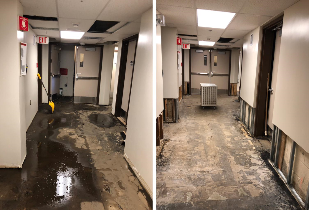Picture before & after commercial water damage